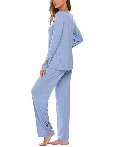 Unibelle Damen Baumwolle Kurzarm Nachtwäsche Zweiteiler Pyjama Set 1_Blau