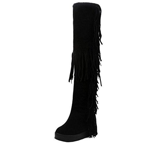 TAOFFEN Damen Mode Flache Winter Langschaft Stiefel Mit Quasten Schwarz