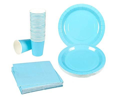 Einweg Geschirr Set–24-set Papier Geschirr–Dinner Party Supplies für 24Gäste, inkl. Pappteller, Servietten und Tassen türkis