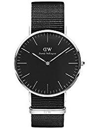 Daniel Wellington DW00100149 - Relojes en acero inoxidable con correa de nylon, Unisex, color negro