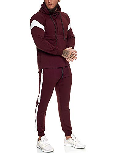 OneRedox | Herren Trainingsanzug | Jogginganzug | Sportanzug | Jogging Anzug | Hoodie-Sporthose | Jogging-Anzug | Trainings-Anzug | Jogging-Hose | Modell JG-1090 Bordeaux XXL