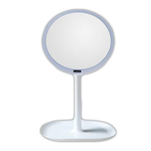 Desktop Menschlichen Körper Induktion LED Spiegel Wiederaufladbare USB Desktop Licht Sensor Kosmetikspiegel 5 Mal 7-Fach Lupe Tragbare Kreative Infrarot-Sensor WUHX,White,1