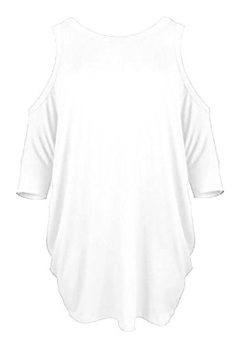 Islander Fashions Womens Cold Cut paule Baggy Top Mesdames Celebs manches 3/4 Courbe ourlet Baggy Top S/3XL white