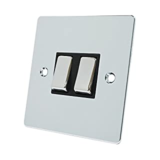 Alliance Electrical FPC2GSWIBC Flat Black Insert Metal Rocker Switches-10 Amp Double 2-Gang 2 Way Light Switch, Polished Chrome