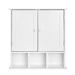 Homfa Armario de Pared con Espejo Armario de baño Armario Cocina con 1 Puerta 9 Estantes Blanco 66x17x63cm
