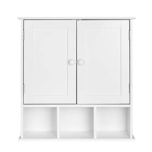 Homfa Campagne Placard Meuble Armoire Suspendue Blanc Dressoir avec Portes (Type-4)