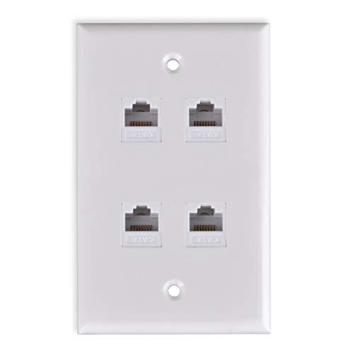 FolioGadgets Ethernet-Wandplatte mit 4-Ports, RJ45, CAT6 Netzwerk-Keystone-Einsatz, Buchsen -