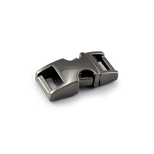 Klickverschluss aus Metall im 10er Set, 3/8'' Klippverschluss/Steckschließer/Steckverschluss für Paracord-Armbänder, Hunde-Halsbänder, Rucksack, Farbe: Titan - Armbänder Und Halsband