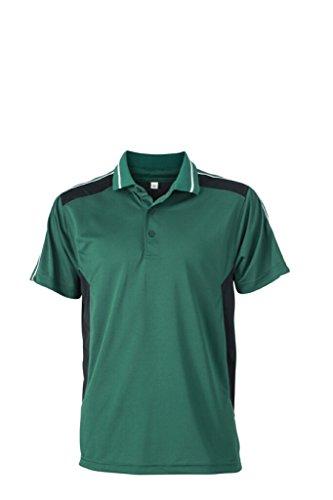 JAMES & NICHOLSON Funktions Polo mit Silver Finish dark-green/black