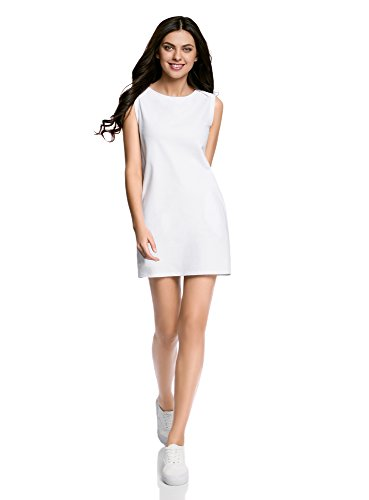 oodji Ultra Mujer Vestido de Tejido Piqué, Blanco, ES 42/L