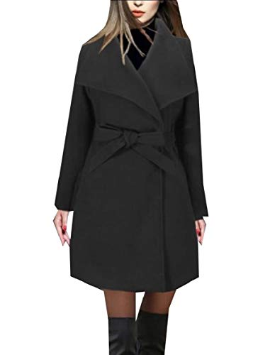 Belted Print Trench Coat (CuteRose Women's Classic Belted Fall Trench Wool Blend Slim Fit PEA Coat Black L)