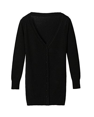 Femmes Casual Cardigan en Tricot Pull À Manches Longues Classique Blouson  Gilet avec Boutons Noir L 4de4482eb9fc