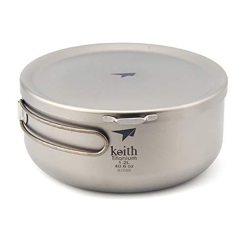 Keith Ti5328/Ti5329 Titanium Folding Bowls Lunch Box with Cover Titan Bowl