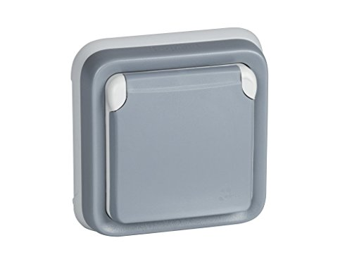 Legrand, 191512 Plexo - Enchufe de pared, enchufe estanco de superficie de la gama Plexo, enchufe exterior, resistente al agua (IP55), color gris