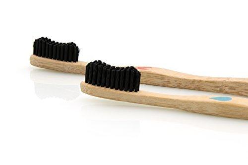 Madhu Bambus Zahnbürste im 4er-Set – vegan und biologisch abbaubare Holz Zahnbürste mit Naturborsten - 5
