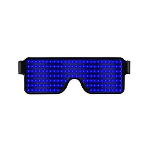 (Modische LED-Brille – leuchtende Brille, blinkender Shutter-Neonleuchten, für Weihnachten, Halloween, Wilde Partys, Tanzball, verrückte Partys, Raves Free Size blau)