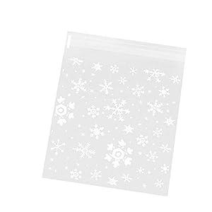 MoGist 100 Stück Selbstklebende OPP Tütchen Minimalistic Weißes Schneeflocken Muster Plastiktüten Geschenk Verpackung Tasche für Süßigkeiten Kekse (Weiss L)