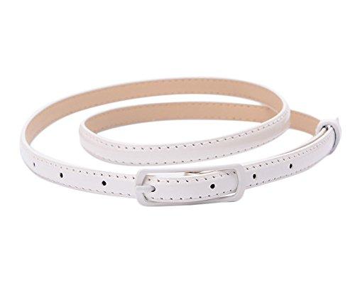 Gespout Mujeres Cinturón PU Piel Moda Cinturones Ajustable Ancho de Cinturón Otoño Invierno Ropa Accesorios Para Jeans Vestidos Sin hebilla Fine Niña Fiesta de Cumpleaños Blanco