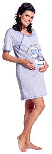 Zeta Ville Maternité Nuisette grossesse Chemise de nuit allaitement femme - 367c Bleu