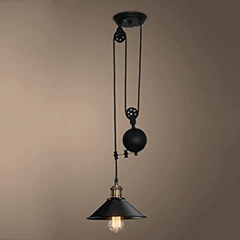 American Village Retro Iron Craft Chandelier Creative Restaurant Bar Bedroom Industrial Pulley Retractable Lift Ceiling Light E27 Light Source 110-240 Volts AC Voltage
