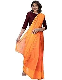 Unnati Silks Women Pure Mangalagiri Cotton Saree With blouse piece and Tassels from the Weavers of Andhra Pradesh(UNM31465+Orange+free size)
