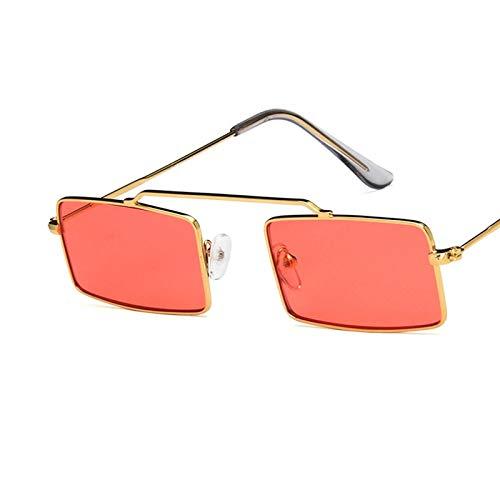 WSXCDEFGH Rechteck Sonnenbrille Frauen Männer Metallrahmen Kleine quadratische Sonnenbrille Cool Ladies Eyewear Mirror Shades
