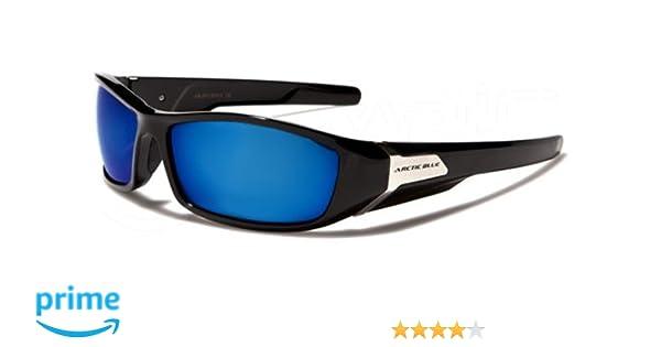 ArcticBlue Lunettes de Soleil - Sport - Cyclisme - Ski - Conduite - Motard - Plage / Mod. Kite Noir Bleu Miroir / Taille Unique Adulte / Protection 100% UV400 vP6Rp