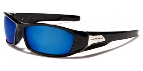 Sonnenbrille Arctic Blue-Sport-Radfahren-Skifahren-Driving-Motorrad-MTB-Klettern/Mod. Kite schwarz und blau Spiegel