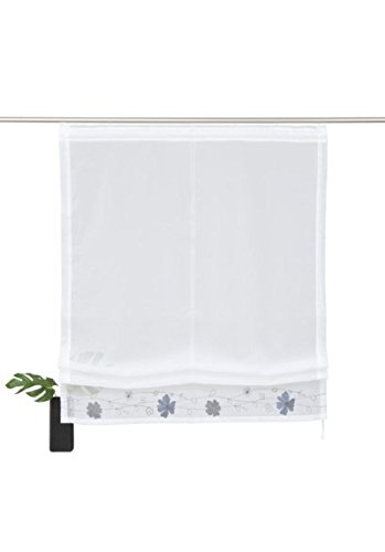 Home Affaire transparentes Raffrollo \' Arlon \' mit Blumenkante grau Höhe 140 cm, Raffrollos:HxB 140/100