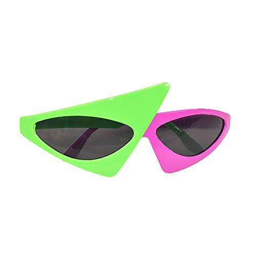 Outtybrave Dreieckige Sonnenbrille, Grün/Pink