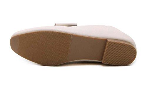 Onfly Pompe Flâneur Chaussures décontractées Talons plats aux femmes Rétro Confortable Square Toe Boucle de ceinture en métal Chaussures paresseuses Chaussures de cour Mules Eu Size 35-39 beige
