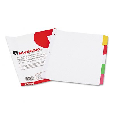 Write-On/Erasable Indexes, Five Multicolor Tabs, Letter, White,