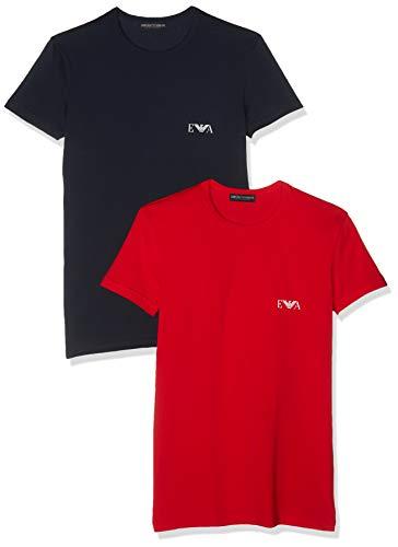 Emporio Armani Underwear MEN'S KNIT 2PACK T-S, Herren Regular Fit, Schwarz (Rosso/Marine 09674), Small (Herstellergröße: S) (Small UK)