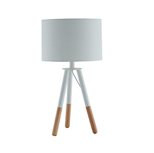 SalesFever - Lampe de table - Métal + pieds en bois - Gris-marron - Abat-jour gris en polyester solide - Avec interrupteur à pression - 30 cm de diamètre, Polyester, Weiß, 30 x 54 cm