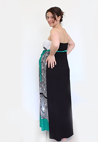Mia maternity Damen Kleid blau Blau - Blue Print Small green,black, white print
