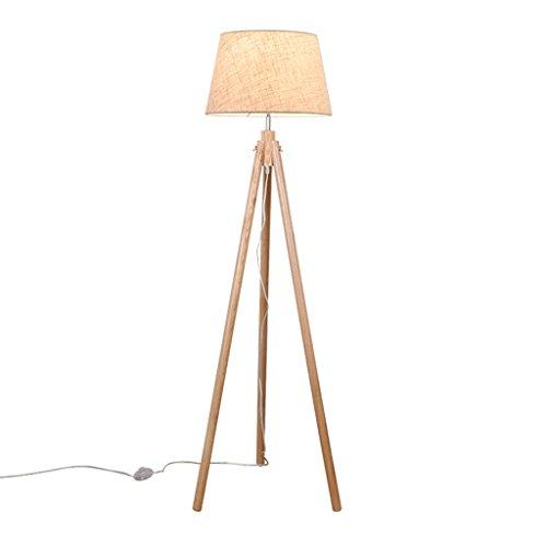 Wohnzimmer Schwingen (Massivholz drei Beine Rack faltbare Stehlampe, kreative einfache Metall Schlafzimmer Wohnzimmer Studie Kinder E27 Tuch Kunst Stehlampe (Holz + Beige))
