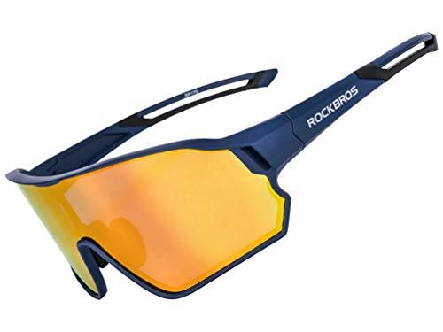 ROCKBROS Fahrradbrille Polarisierte Sonnenbrille Sportbrille mit UV400-Schutz TR90-Rahmen für Outdoor-Sport Radfahren Laufen Klettern Angeln Golf