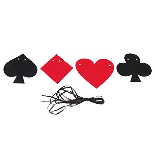 (SEVENHOPE Schwarz Rot Poker Wimpel Banner Kreative Party Filz Pull Blume Geburtstag Party Flag Dekoration)