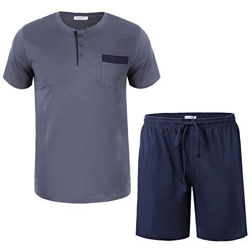 Aibrou Herren Schlafanzug Pyjama kurz Nachtwäsche Set Sommer Sleepwear Loungewear aus Baumwolle Blau2 XL