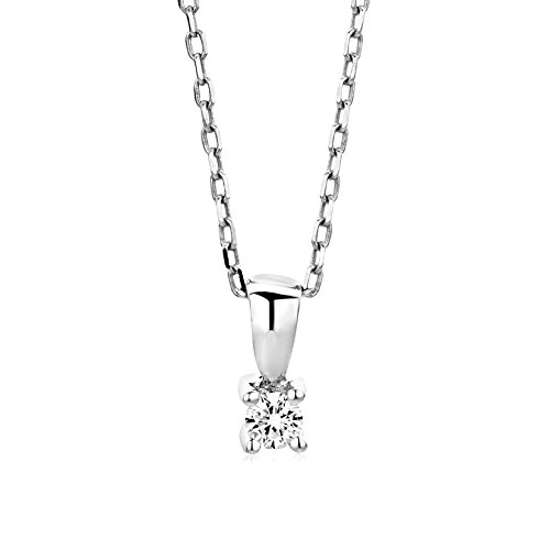 Miore M9022P - Collar de mujer de oro blanco (9k) con 1 diamante, 45 cm Miore