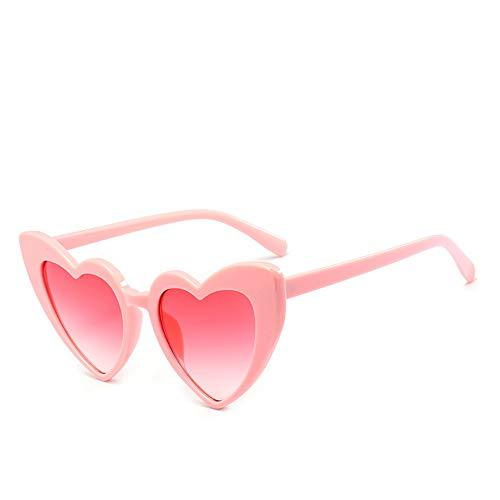 QDE Sonnenbrillen Herz Sonnenbrille Frauen Sonnenbrille Retro Love Heart Shaped Glasses Ladies Shopping Sunglass Uv400, Pink