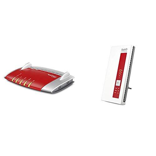 able WLAN AC + N Router (bis 1.300 Mbit/s (5 GHz) VoIP-Telefonanlage, DECT-Basis) & FRITZ!WLAN Repeater 1750E, Rot/Weiß, deutschsprachige Version ()