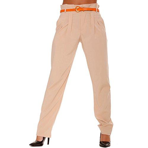 Miss Line Wear-Pantaloni taglio carota, liquido, colore: beige Beige (Pantaloni Misses Lino)