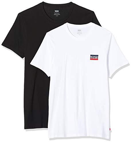 Levi's 2pk Crewneck Graphic T-Shirt, Multicolore (2 Pack SW White/Mineral Black 0000), Large Homme