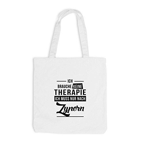 Jutebeutel - Ich Brauche Keine Therapie Zypern - Therapy Cyprus Urlaub Weiß
