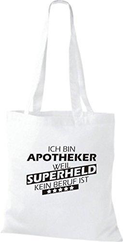 Shirtstown Stoffbeutel Ich bin Apotheker, weil Superheld kein Beruf ist Weiß