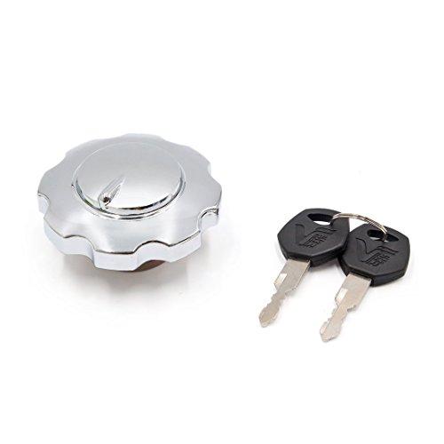 sourcingmap huile moto métal Ton Argent bouchon réservoir carburant Cache serrure avec 2 clés pour CG125