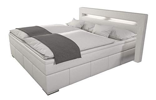 """""""Box"""" Boxspringbett 180×200 / Bett inkl. LED / Doppelbett / Hotelbett / Designerbett / Kunstleder weiß"""