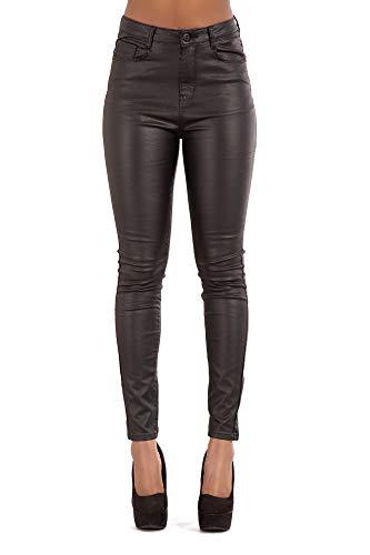 Damen Jeans Hose High Waist Jeans für Damen Übergrößen Jeans Röhrenjeans Lederlook (38, Schwarz)
