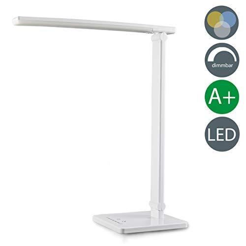 B.K.Licht LED Schreibtischleuchte 7W | Tischleuchte LED dimmbar mit USB-Ladeanschluss | Nachttisch-Leuchte faltbar für Schlafzimmer inkl LED-Leuchtmodul | Schreibtischlampe LED mit 7 Helligkeitsstufen und 5 Farbtemperaturen | Nachttisch-Lampe mit Touch Control, Lampe Tischlampe Kunststoff Weiss 500lm | 230V | IP20 [Energieklasse A+]